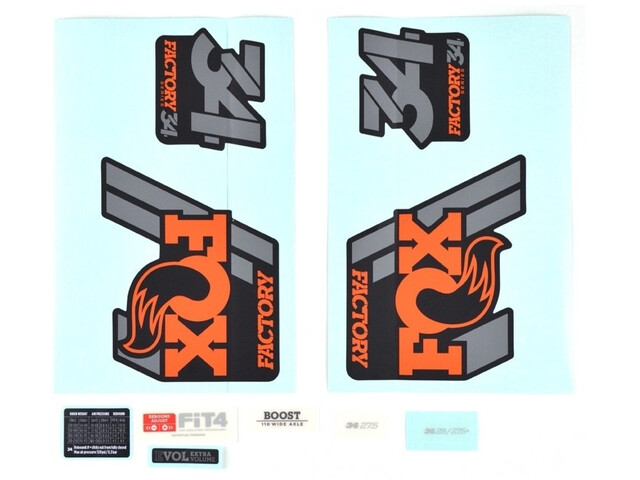 Fox Racing Shox Decal Kit for 34 F-S, orange/shiny black